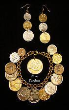 Israeli Coin Charm Bracelet Earrings JEWELRY Set 19 Coins PrutaAgoraLiraSheqel