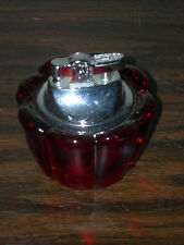 CRANBERRY GLASS TABLE LIGHTER - ART DECO STYLE