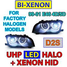 4 HALOGEN MODELS DEPO 99-01 BMW E46 4D/5D LED ANGEL HALO Bi-Xenon D2S HEADLIGHTS