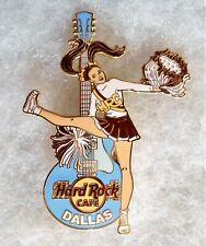 HARD ROCK CAFE DALLAS SEXY CHEER GIRL POM POMS & LIGHT BLUE GUITAR PIN # 31012