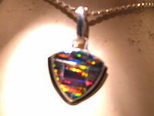 Chubbie Arrowhead shaped RED Black Golden Fire Opal Pendant Trinity Sterling