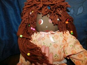 """LARGE COLLECTABLE SOFT RAG DOLL AFRO CARIBBEAN BEADED WOOL HAIR TOBAGO DRESS 28"""""""