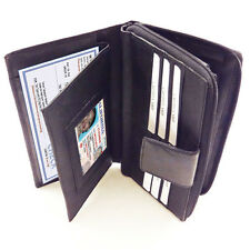 Black Leather Women's Clutch Wallet Checkbook Cover Card Secretary Organizer