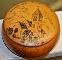 Vintage NORWEGIAN Hand Drawn Wood trinket box ALESUND NORWAY 1848-1948 Aalesunds