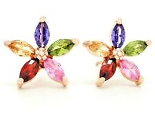 Flower stud rose gold plated earrings sparkly marquise different colored gems