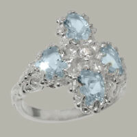 9k White Gold Natural Diamond & Aquamarine Womens Cluster Ring - Sizes 4 to 12
