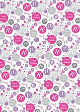 2 Sheets 70th Birthday Wrapping Paper Age 70 Gift Wrap Female Pink & White (PA)