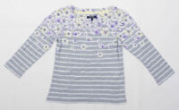Maine Womens Size 8 Striped Cotton Grey Floral Top (Regular)