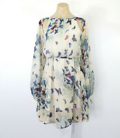 BOOHOO Dress Size 8 Boho Fit Flare Butterfly Print Slit Sleeve EUC
