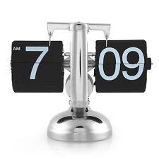 Retro Digital Auto Flip Desk Clock Down Metal Single Stand Table 12 Hour