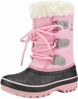 DREAM PAIRS Boys & Girls Faux Fur-Lined Ankle Winter Snow, Grey Pink, Size 12.0