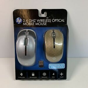 HP 2.4GHz Wireless Optical Mobile Mouse w/ Top Covers, Black/Blue/Bronze NEW NOS