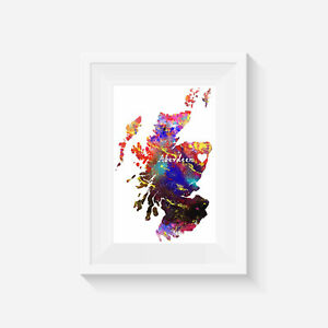 Scotland aberdeen, watercolour, print, poster, picture, gift, wall art, home