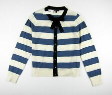 NWT J Crew Jackie tie-neck cardigan sweater in stripes XL White Peri HO16 G0844