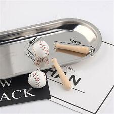 Leather Baseball Wood Bat Set Dangle Pendant Charms Jewelry DIY Accessories 2pcs