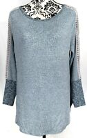 Soft Surroundings Womens Bailey Top Blue Sweater L Waffle Knit Lace Crochet Arms
