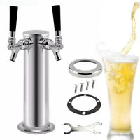 Double 2 Tap Draft Beer Tower Kegerator Dual Chrome Faucet Stainless Steel TOP