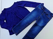 Lot of 2 Girls Clothes Old Navy T-shirt Crazy 8 Jeans Pants SZ 3T Denim Blue 3