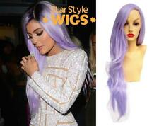 DELUXE KYLIE JENNER LONG LILAC WAVY HEAT RESISTANT FASHION PASTEL PURPLE WIG