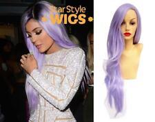 Deluxe Kylie Jenner Lunga Lilla Ondulata Moda Resistente Al Calore Parrucca Viola Pastello