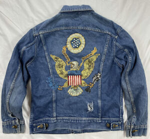 VTG Lee Denim USA Seal Logo Eagle American Blue Jean Coat Jacket Small 36R Men