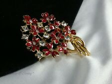Vintage Gold Red Enamel Floral Lily Bouquet Rhinestone Wild Flower Brooch Pin