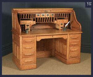 Large Antique English Edwardian 5ft Oak Roll Top Pedestal Office Writing Desk
