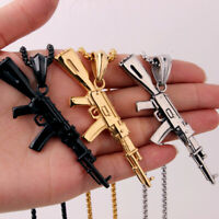 AK47 Assault Gun Rifle Pendant Chain Stainless Steel Silver/Gold/Black Necklace