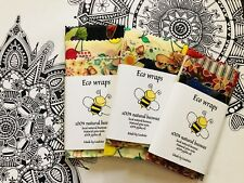 Organic Beeswax food wraps Wax Wraps Pack Of FOUR 1 X Large +Medium +Small+Snack