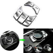 5Pcs Interior Multi-Media 7 Buttons Cover Trim For BMW 3 4 5 6 X5 X6 Series