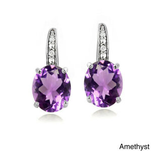 6 x 8mm Oval Created Amethyst & Tiny Diamond White Gold GF 925 Silver Earrings