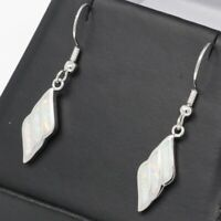 Vintage Antique White Australian Opal Earrings Solid 925 Sterling Silver Jewelry