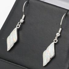 Vintage Antique White Australian Opal Earrings Solid 925 Sterling Silver Jewelry