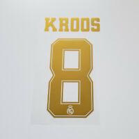 Real Madrid 2019 2020 Toni Kroos Shirt Jersey Shirt Name Number 8 Set Gold