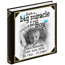 "Personalised large photo album, guestbook, 400 x 6x4"" photos, Baby boy birthday"