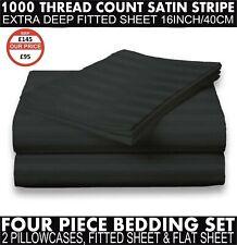 1000TC Egyptian Cotton King Fitted+Flat Sheet & 2 Pillowcase 4PCS SET Black