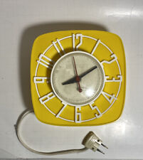 "VTG General Electric GE Kitchen Wall Clock YELLOW White Model 2H44 6"" X 6"""