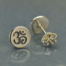 Om Ohm Aum Sterling Silver .925 Yoga Stamped Round Stud Studs Post Earrings