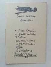 """CARTOLINA CAPRONI GABRIELE D'ANNUNZIO FIUME """"SENZA COZZAR DI ROCCO"""" AERONAUTICA"""