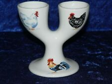 Pollo gallo gallina doble Hueveras. Porcelana Huevera diseñado para 2 Huevo Duro