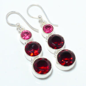 """Garnet Handmade Gemstone 925 Silver Handmade Earring Jewelry 1.68"""" S196"""