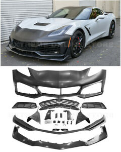 For 14-19 Corvette C7 | ZR1 Style Front Bumper Cover Grille Lower Lip Splitter