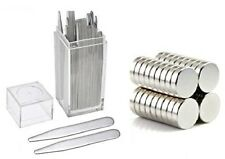 """20 Metal Collar Stays 2.5"""" + 10 Magnets For Men Shirts In Clear Plastic Box"""