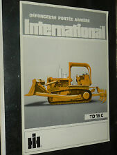 Prospectus IH INTERNATIONAL Tracteur Défonceuse TD15C  MAC CORMICK Brochure TP