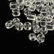 (600) 3mm vintage Czech crystal clear molded seed glass beads