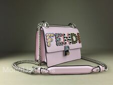 NEW FENDI 2350$ Kan I Pink Embellished Studded Logo Leather Bag Handbag Purse