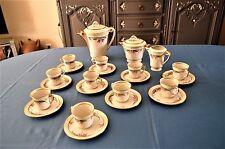 ANCIEN SERVICE A CAFE L.J et Cie PORCELAINE DECORE MAIN MOTIFS FORAUX /13 PIECES