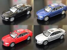 """4 PC Set New 5"""" Kinsmart Audi A6 Diecast Model Toy Car 1:38 Scale Pull Action"""