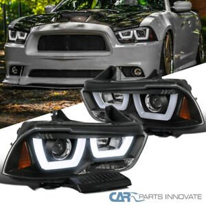 For 11-14 Dodge Charger Black Iced LED Projector Headlights Head Lights Lamps