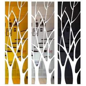 Modern Acrylic Tree Mirror Wall Sticker Removable Wall Art Decal Home Decoration
